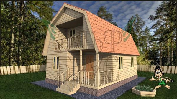 Дом из бруса БОГОЛЕП 6х8 м.