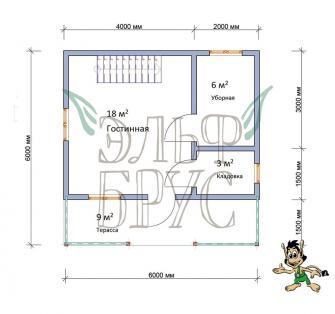 Дом из бруса НАДЕЖА 6х6