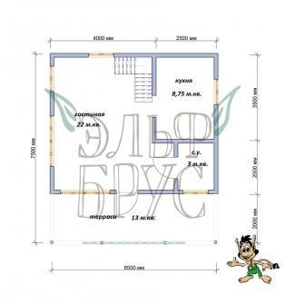 Дом из бруса СТОИК 6.5х7.5 м.