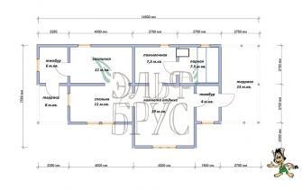Дом из бруса УДАЧА 7.5х14.5 м.