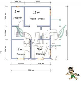 Дом из бруса ВЕРШИЛО 6х8 м.