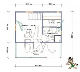 Дом из бруса Гелиос 6х6 м.