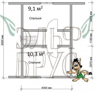 Дом из бруса БОЖЕДОМ 6х9 м.