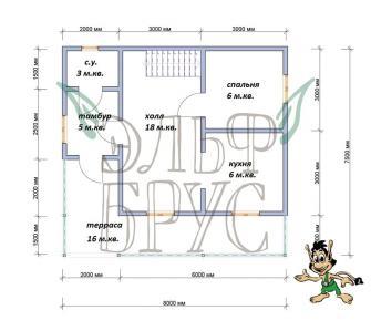 Каркасный дом КАЛИНКА 7.5х8 м.